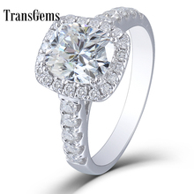 цены Transgems 10K White Gold 2.55 CTW 7X8mm FGH color Cushion Cut Halo moissanite Enagement Ring Solitare with Accents for Women