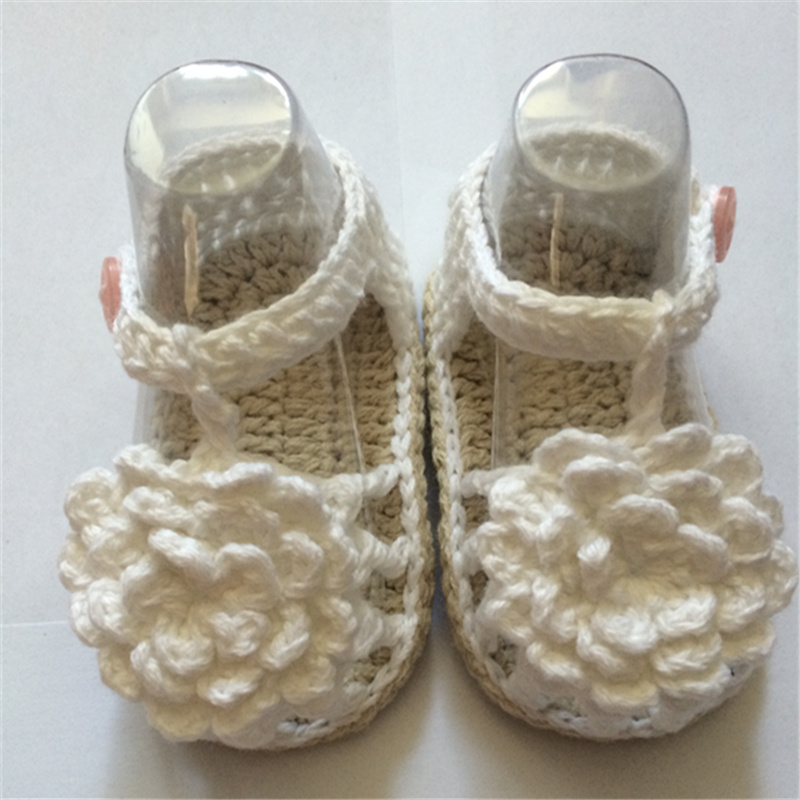 Free Shipping Crochet Baby Shoes,Baby White Flip Flops,Crochet Baby Shoes,Sizes 0-12 Months Hand-woven Baby Toddler Shoes