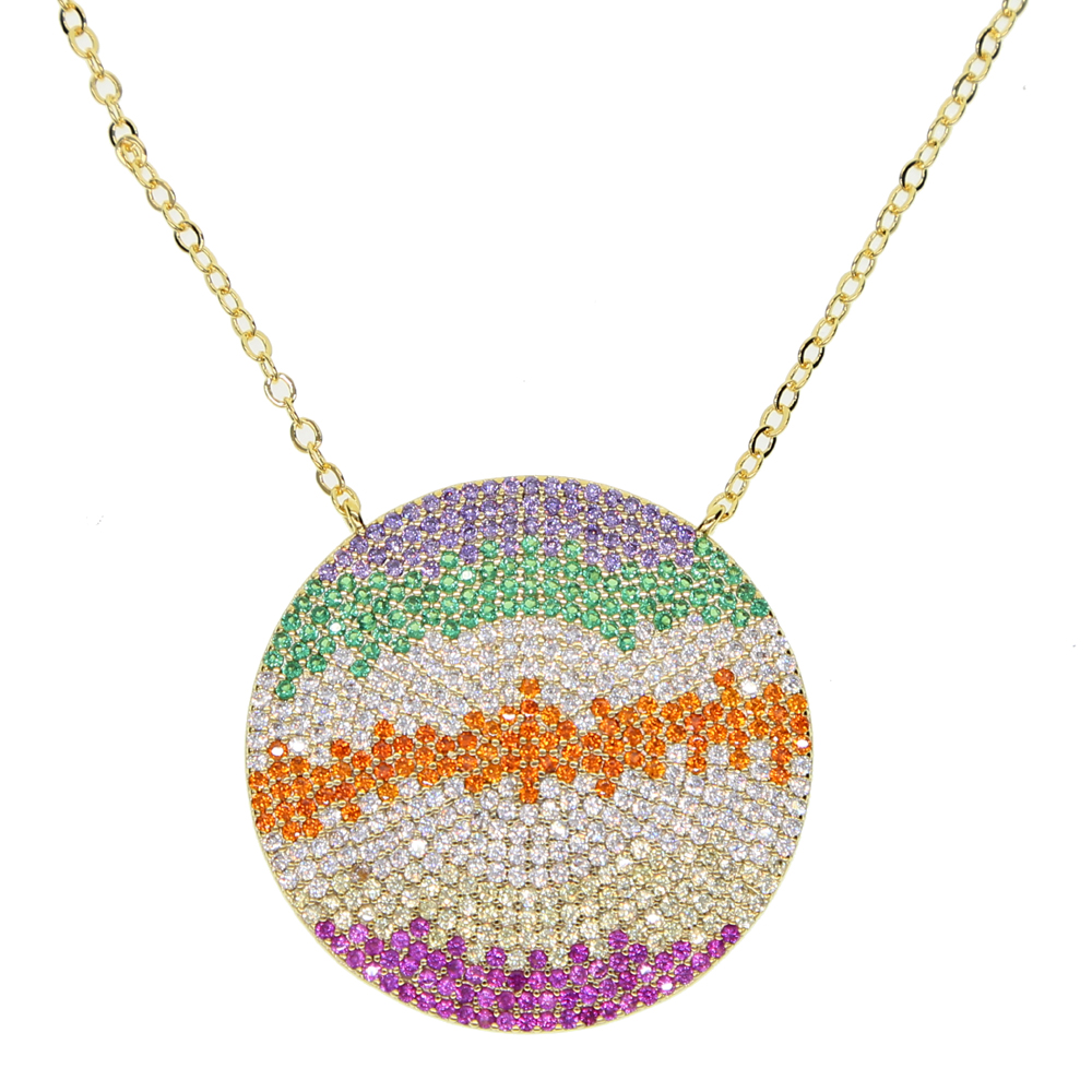 2018 fashion Gold color Round Multi-colored Necklace,Layering Disc , Boho Necklace, Beach Jewelry 45