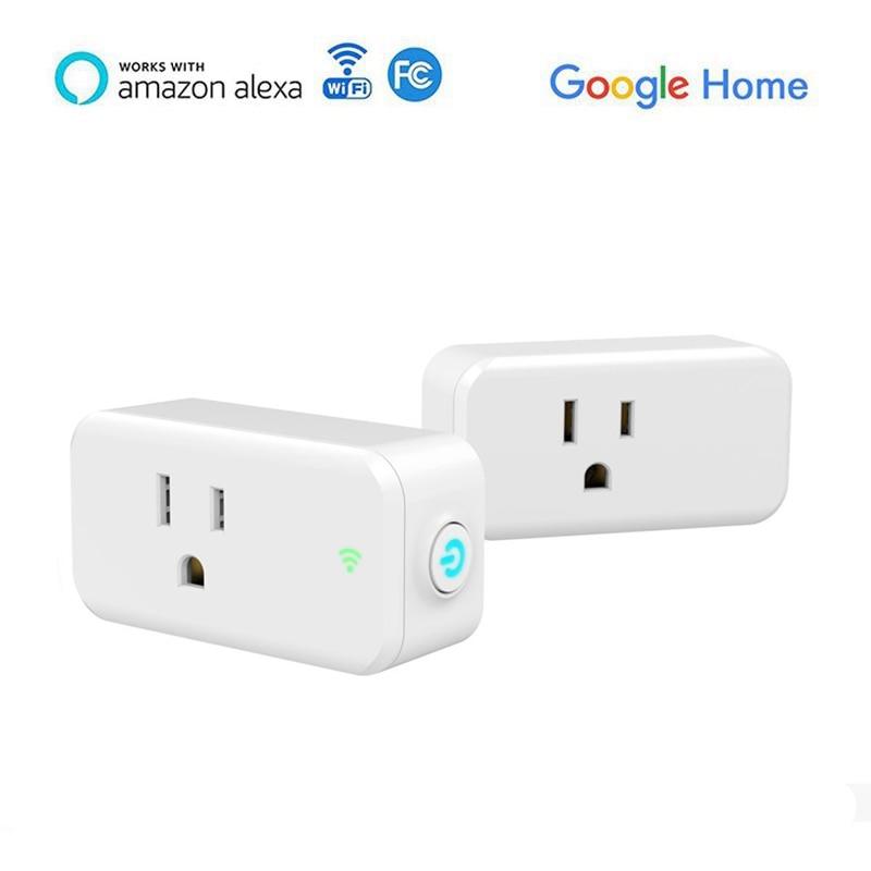 2PCS Mini WIFI Smart Plug US Plug 10A Wireless Smart Socket Alexa And Google Voice Control For Smart Home Automation