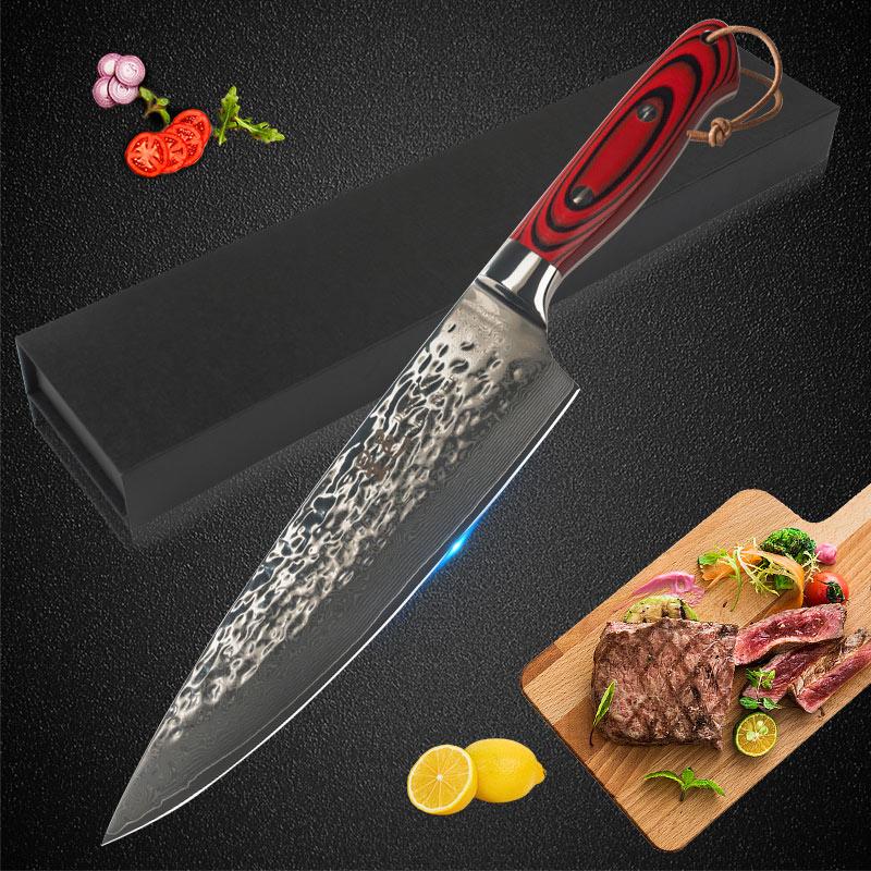 Nouveau 8 pouces japonais rouge G10 poignée professionnel 67 couches damas acier inoxydable cuisine Chef couteau Santoku couperet outils
