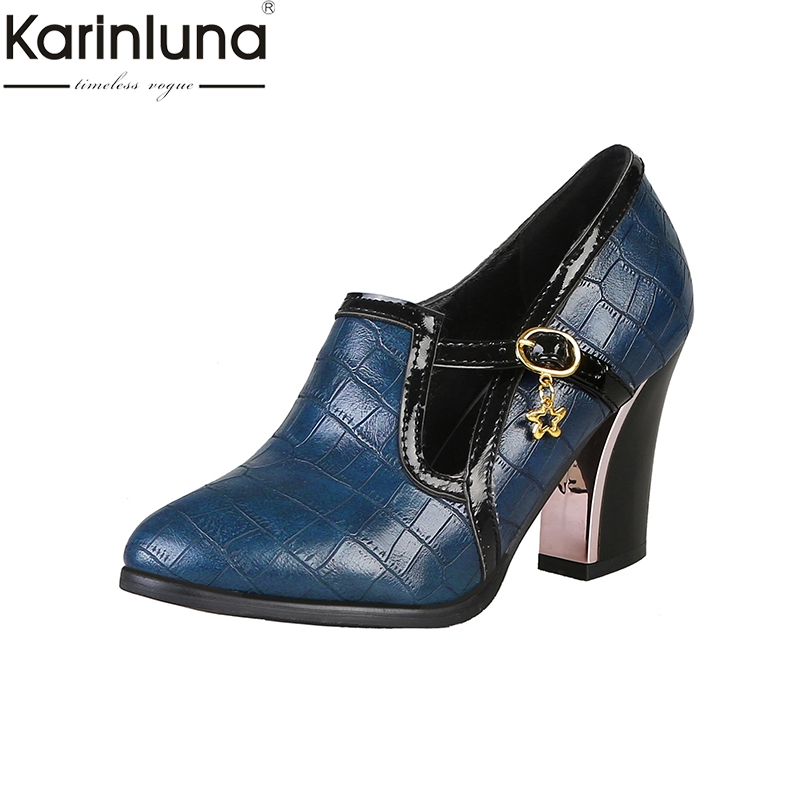 Karinluna Chic Style Plus Size 48 Chunky Heels Mature Office Lady Party Women's Shoes 2019 Brand New Women's Pumps