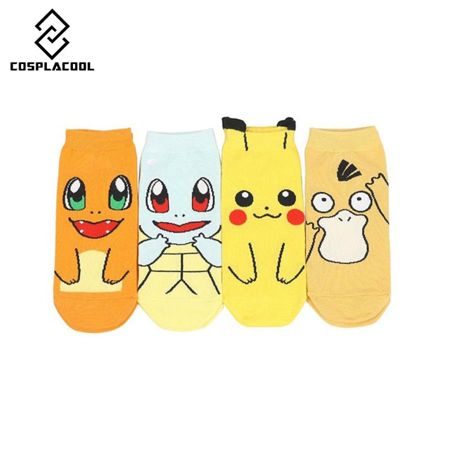 bande dessine anime pokemon pikachu femmes court mignon art chaussette de chaussettes femmes lady fille summer