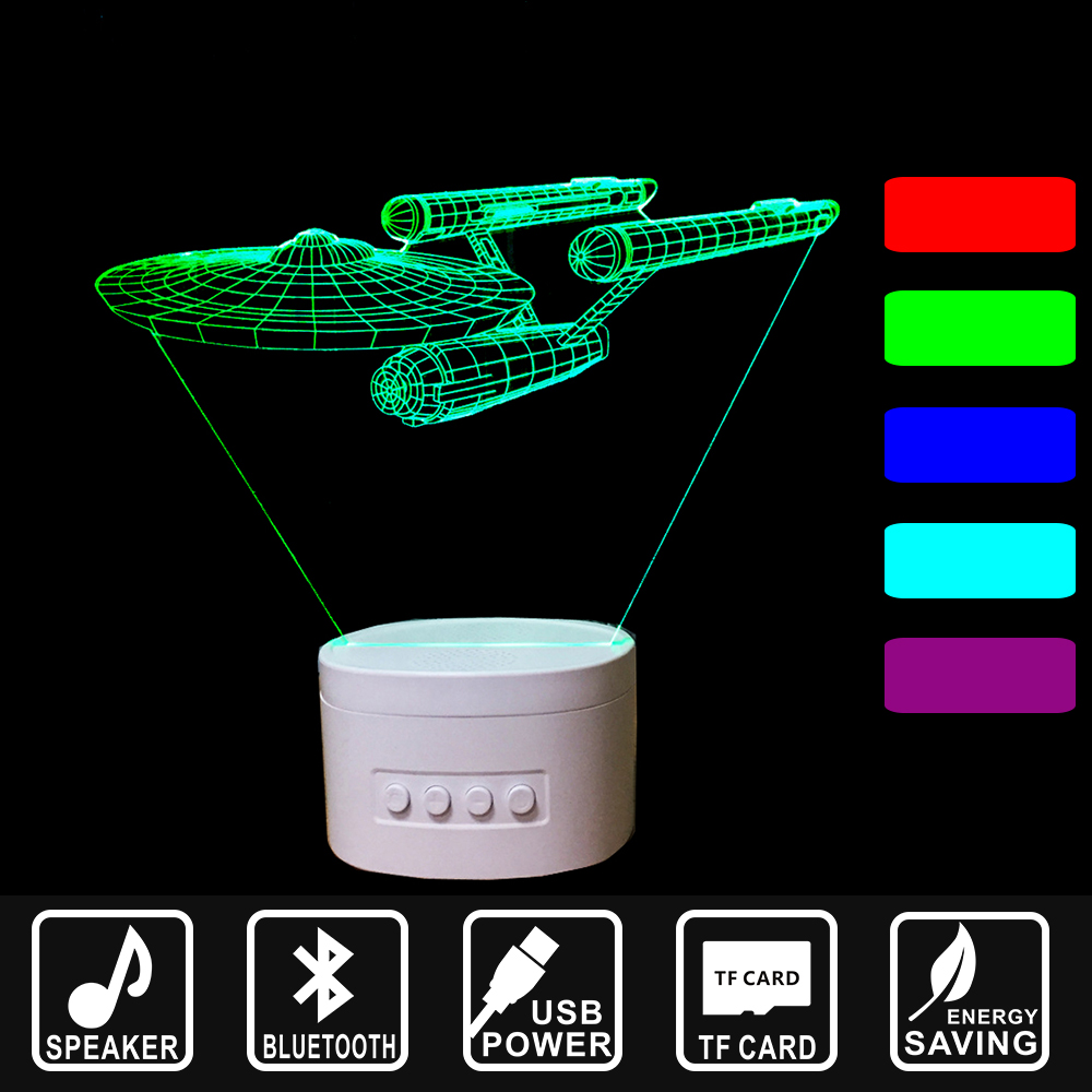USB Lampara Warship Star War LED Night Light Bluetooth Speaker 3D Music Nightlight Asmosphere Lamp Home decor lamp gift IY803318 kmashi led flame lamp night light bluetooth wireless speaker touch soft light for iphone android christmas gift mp3 music player