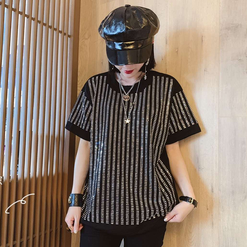 2019 Spring Fashion High Street Style Women s Rhinestone spangle blingin Casual T Shirt Pullovers Tops