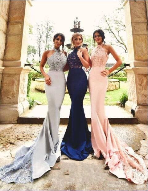 Navy Silver Pink Satin Lace Lique Halter Long Mermaid Bridesmaid Dresses Maid Of Honor Dress For