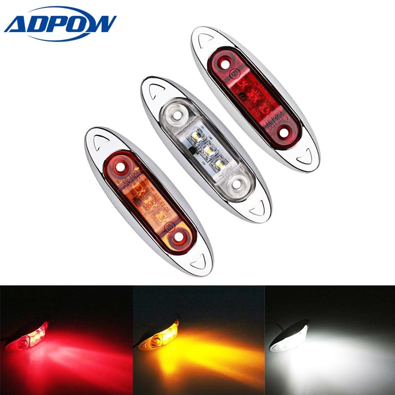 1pcs 24V 12V 3LEDs Truck Turn Indicators Lights Car Side Marker Lamp For Vans Truck Trailer Bus Rear Warning Light  Car-Styling
