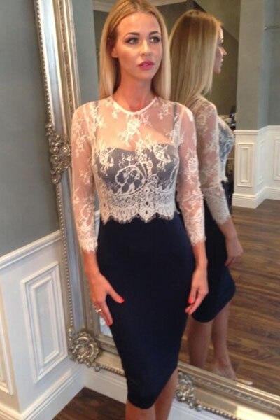 Women Spring Dress 2015 Regular High Waist Black White