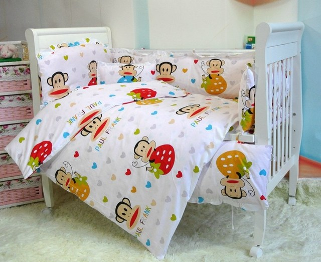 cute baby cot set 100 cotton crib set for kids10 pcs baby bedding
