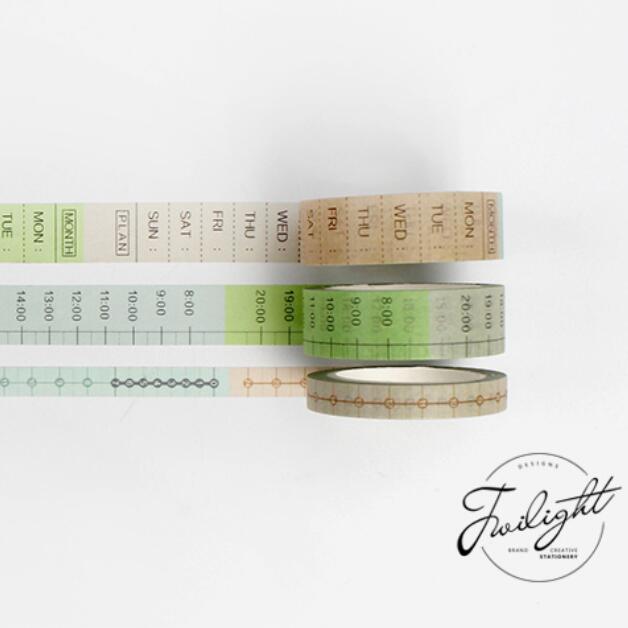 Mohamm Timeline Weekly Plan Japanese Washi Tape Adhesive Tape Diy Decoration Planner Scrapbook Sticker Label Masking Tape