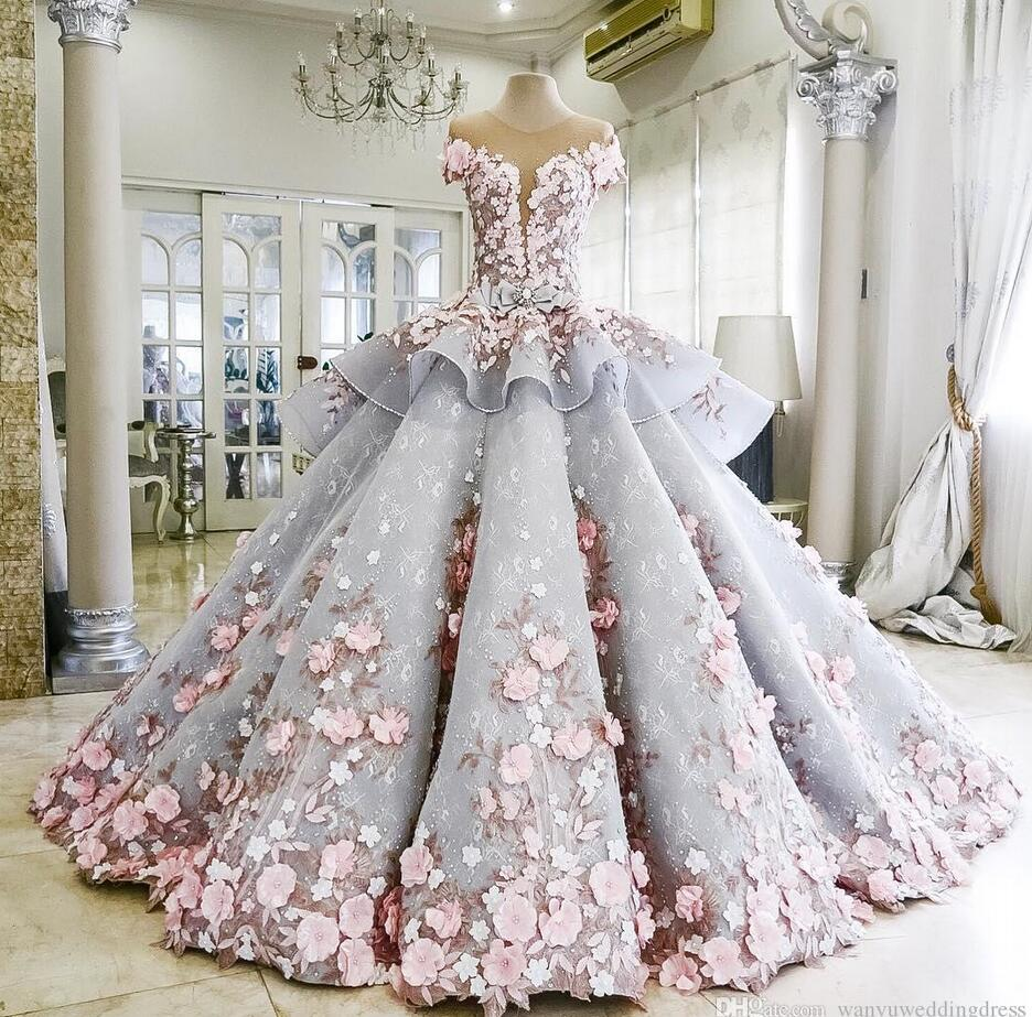 2017 Charming Colorful Wedding Dresses Ball Gown 3D Floral Appliques ...