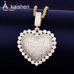 Ожерелье с кулоном в виде сердца с кубинской цепочкой золотого цвета с кубическим цирконием для мужчин и женщин, ювелирные изделия в стиле х...