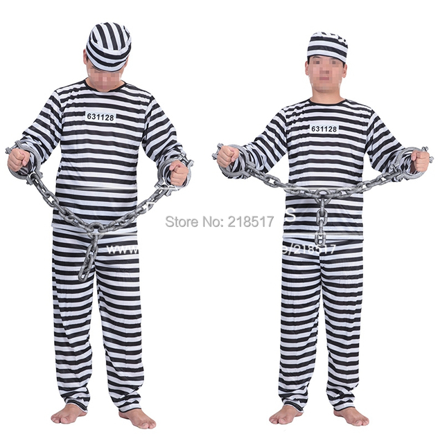 Free shipping menu0027s Prisoner convict Jailbird Fancy Dress Party Halloween Costume Cosplay UniformBlack White  sc 1 st  AliExpress.com & Free shipping menu0027s Prisoner convict Jailbird Fancy Dress Party ...