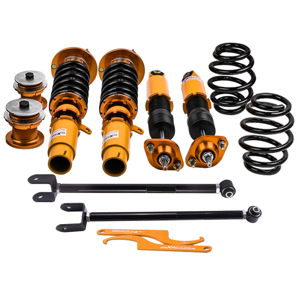 Front & Rear Coilovers for BMW E46 3 Series 320i 323i 325i 328 330 M3 98-06 24 Way Adjustable Damper Kits Coilover Suspension fortune auto tercel starlet ep82 ep91 1990 1999 500 street series coilovers