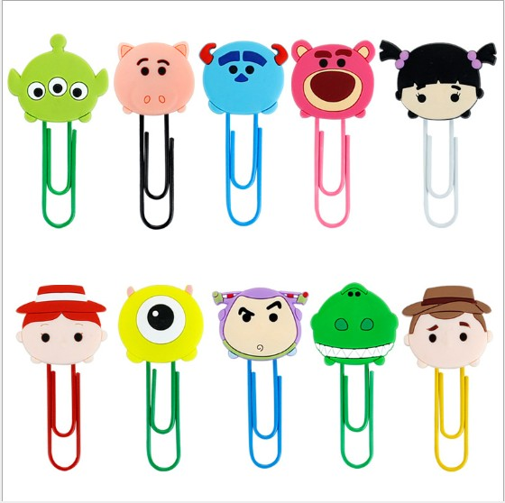 1pcs Cartoon PVC Toy Story  Bookmark Paper Clips Student Stationery Memo Clip Kids Toy Gift