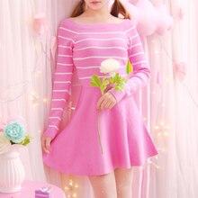 Autumn Winter Sweet Striped Dress Slash Neck Lolita Stretch Knitted Women