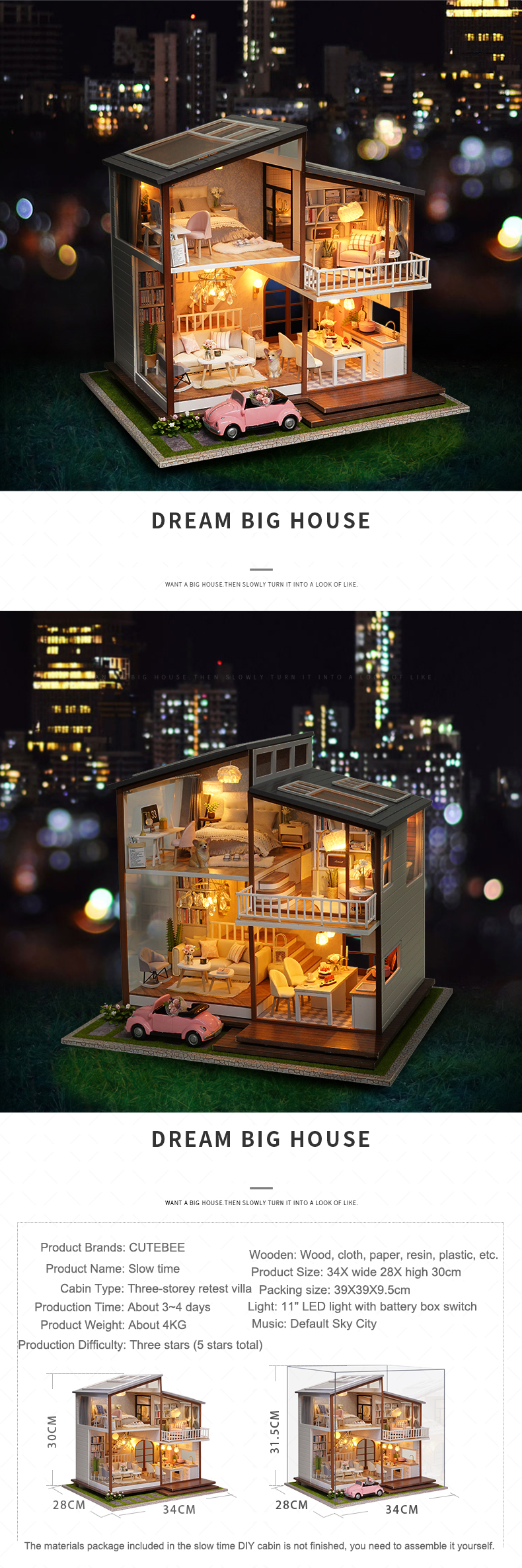 Dream Big House DIY 3D Dollhouse