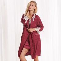 Новые летние 100% шелк девять роскошный удобные шелковый халат с длинными рукавами