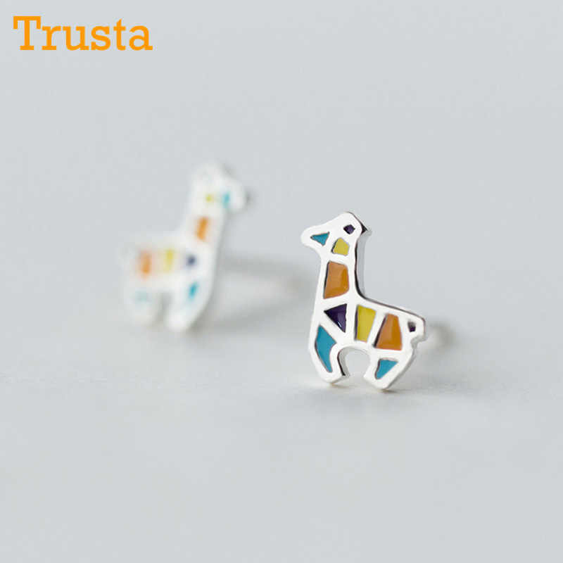 Trusta 100% 925 Solid Sterling Silver Earring Fashion Cute Colour 7mmX8mm Giraffe Stud Earrings Gift For Girls Kids Lady DS905