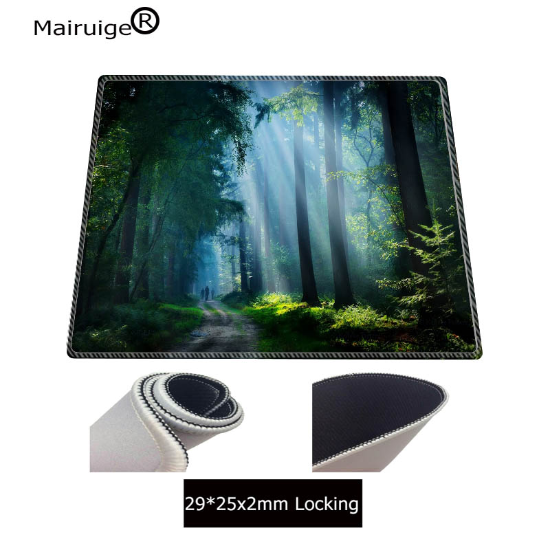 Image 4 - Mairuige Nature Blue Forest Snow  Large Mouse Pad  Gaming Mousepad Anti slip Natural Rubber Gaming Mouse Mat with Locking Edge-in Mouse Pads from Computer & Office