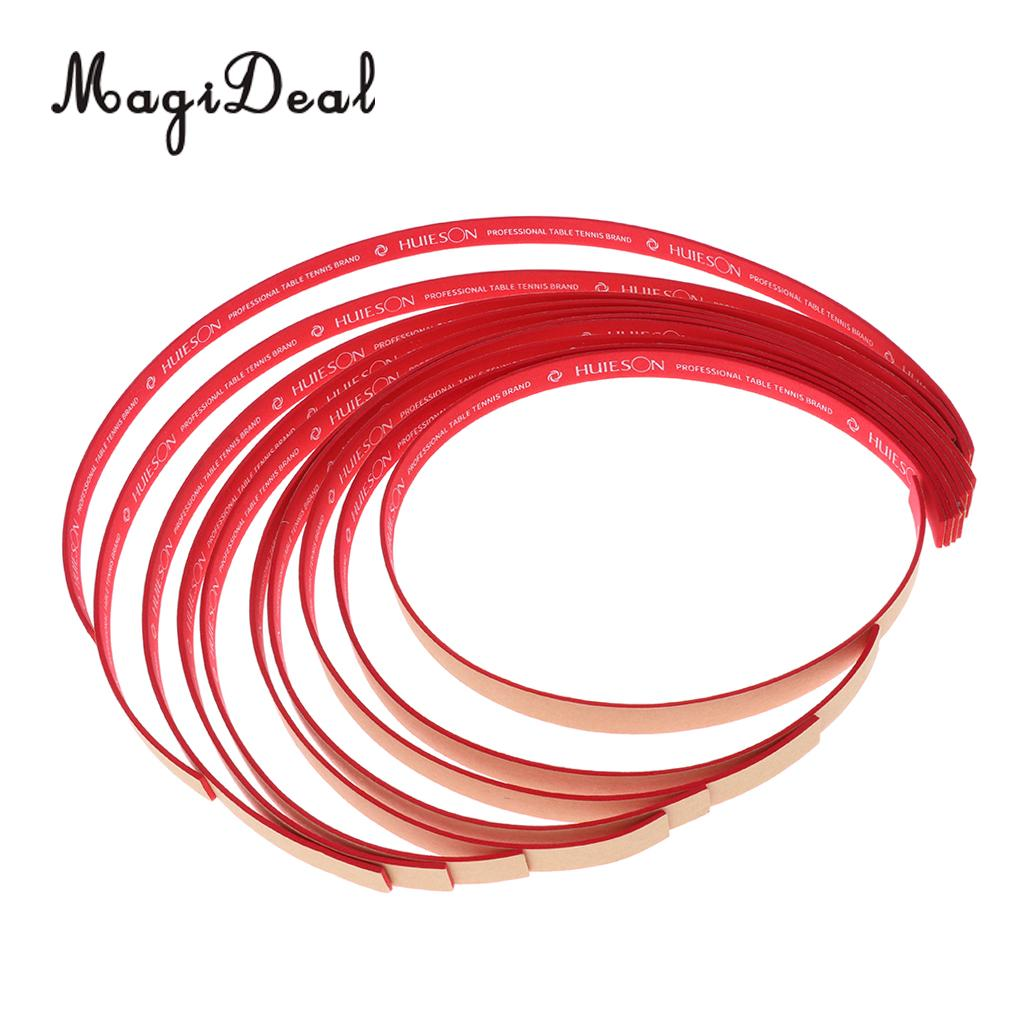 MagiDeal Professional 10Pcs Table Tennis Edge Tape Pingpong Racket Side Tape Protect Black / Red Edge Desk Protection Gifts