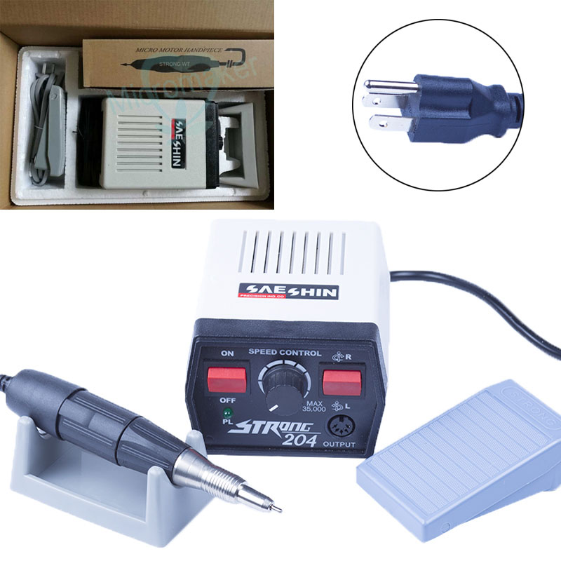 220V/110V Dental Lab Micro Motor 35000RPM Strong 204 Micromotor Hand and 102 Handpiece
