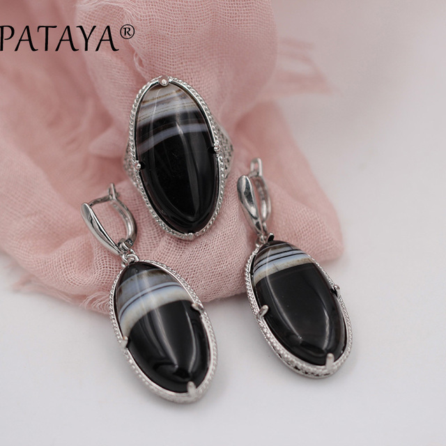 PATAYA New Women Wedding Vintage Jewelry Sets True White Gold Hollow Jewelry Set Black Onyx Natural Stone Earrings Ring Set