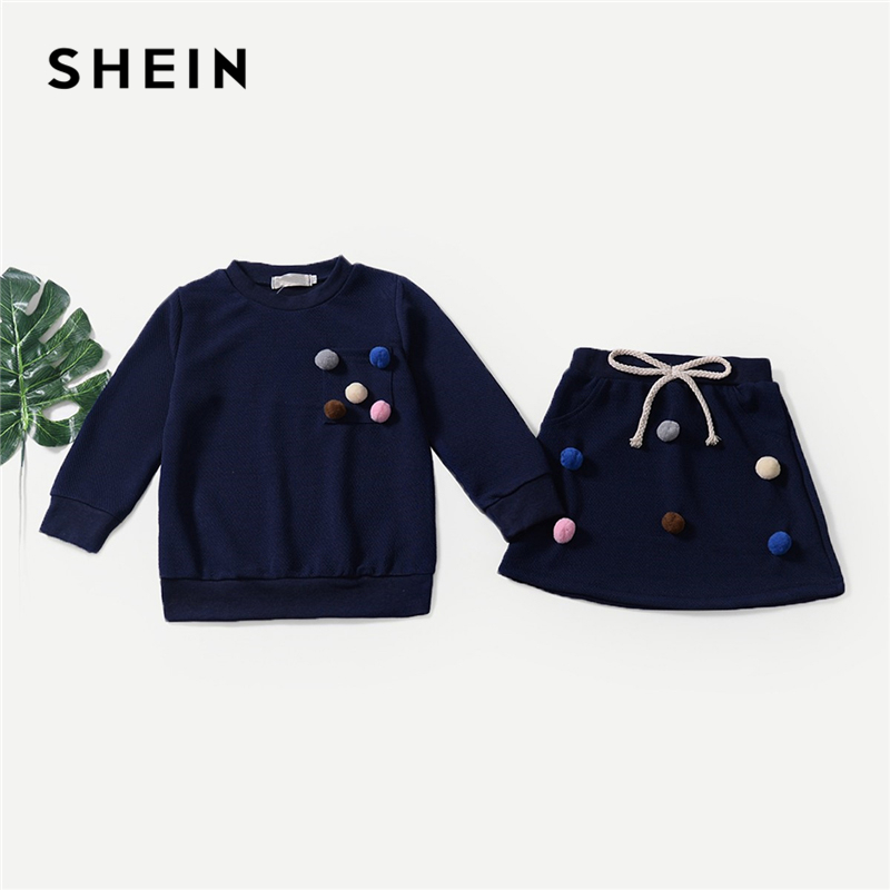 SHEIN Kiddie Navy Knot Pom Pom Top With Flared Skirt Toddler Girls Clothing Set 2019 Spring Long Sleeve Casual Cute Kids Sets off shoulder pom pom trim top with shorts