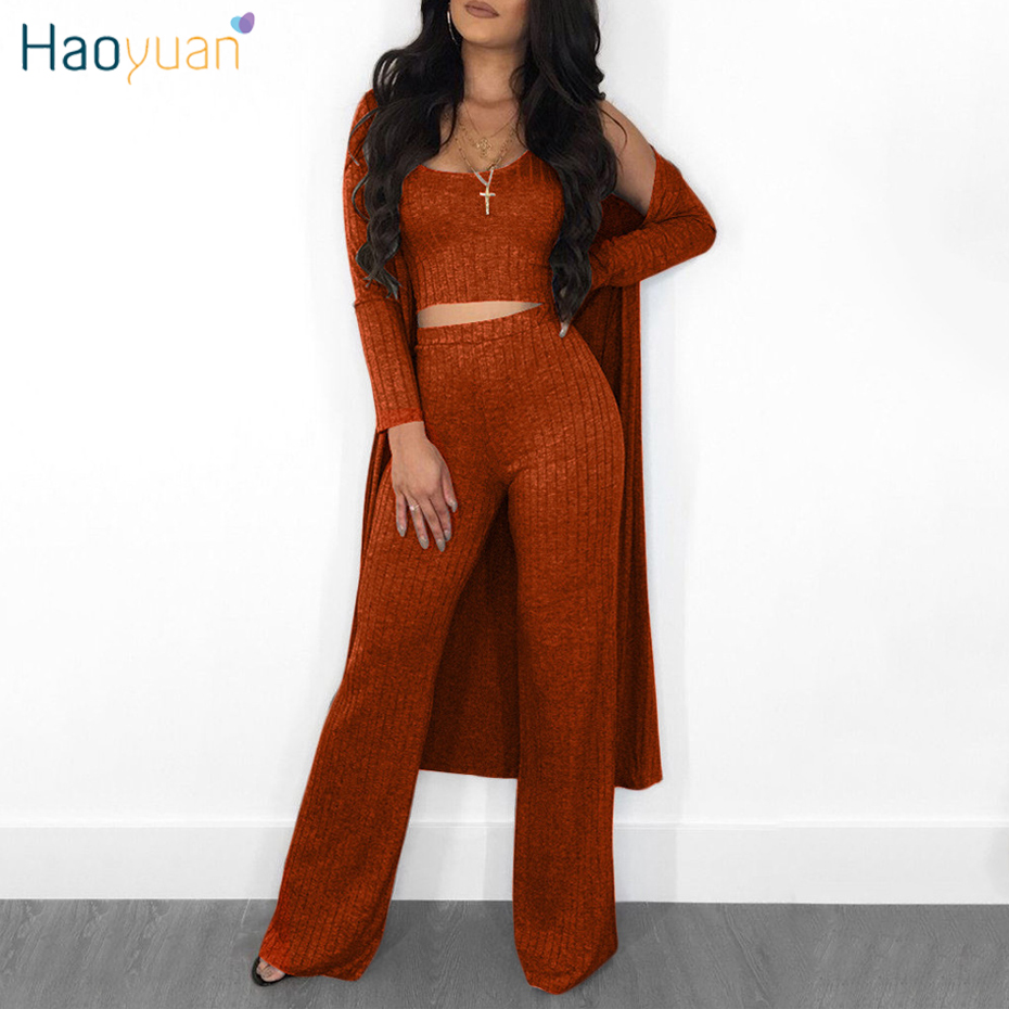 HAOYUAN Sexy 3 Piece Set Women Clothes Fall Winter High Stretch Knitted Outfits Long Cardigan Cloak+Tank Top+Straight Pants Suit