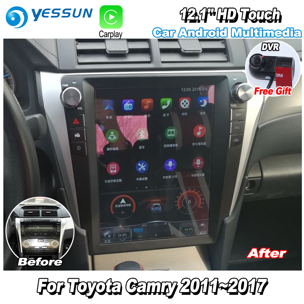 Yessun 12 1 Hd Vertical Screen For Toyota Camry 2017 Car Radio Android Carplay Gps Navi Maps Camera Dvr Touch Dvd