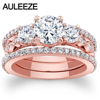 1CT Moissanites Bridal Sets 14K Rose Gold Engagement Ring Three Stone Lab Grown Diamond Wedding 3