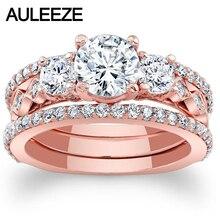 1CT Moissanites Bridal Sets 14K Rose Gold Engagement Ring Three Stone Lab Grown Diamond Wedding 3 Pieces Set Christmas Gift Love