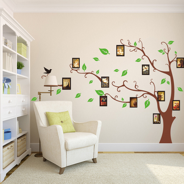 Bild Foto Rahmen Grüne Blätter Braun Baum Wand Aufkleber Wohnzimmer  Dekoration Diy Anlage Wandbild Kunst Familie