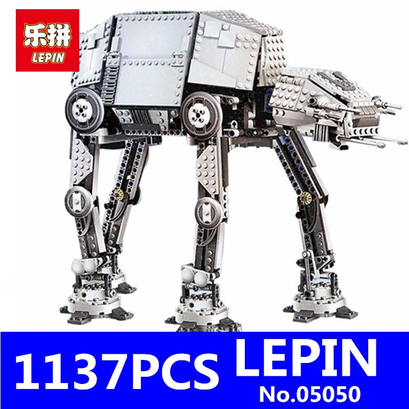 MOTORIZED WALKING LEPIN 05050 1137Pcs AT-AT Robot Model Building Blocks Brick Classic Compatible 10178 75054 Children Toys GIFT