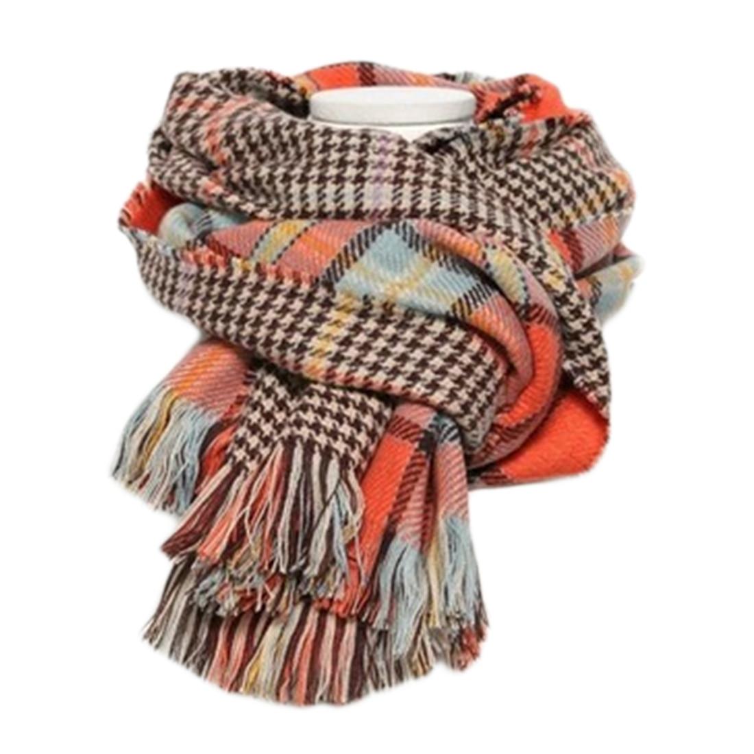New Cashmere Scarf 2018 Pashmina Scarf Women Tassels Scarves Wraps Autumn Winter Shawls Thousand Bird Lattice Double-sided Scarf