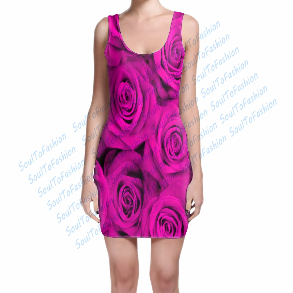 3 Colors Custom Made Fuchsia Red Turquoise Rose 3D Sublimation Print Milk Silk Dress