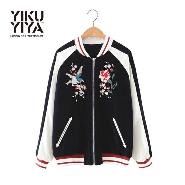YIKUYIYA New Fashion Women Jacket 2017 Long Sleeve Slim Coat Casual Black Contrast Floral Embroidery Velvet Bomber Jacket
