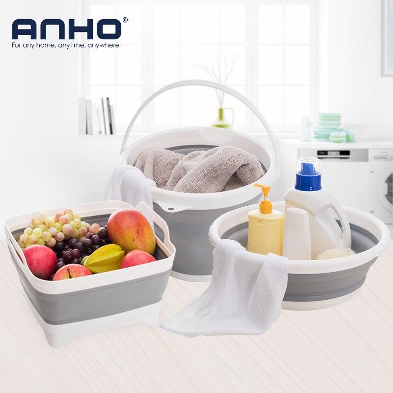ANHO 3PCS Foldable Wash Basin Bucket Plastic Creative Portable Car Washing Camping Kitchen Bathroom Cleaning Tools