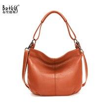 BRIGGS New Fashion Soft Real Genuine Leather Women Handbag Elegant Ladies Hobo Shoulder Bag Messenger Purse Satchel sac a main
