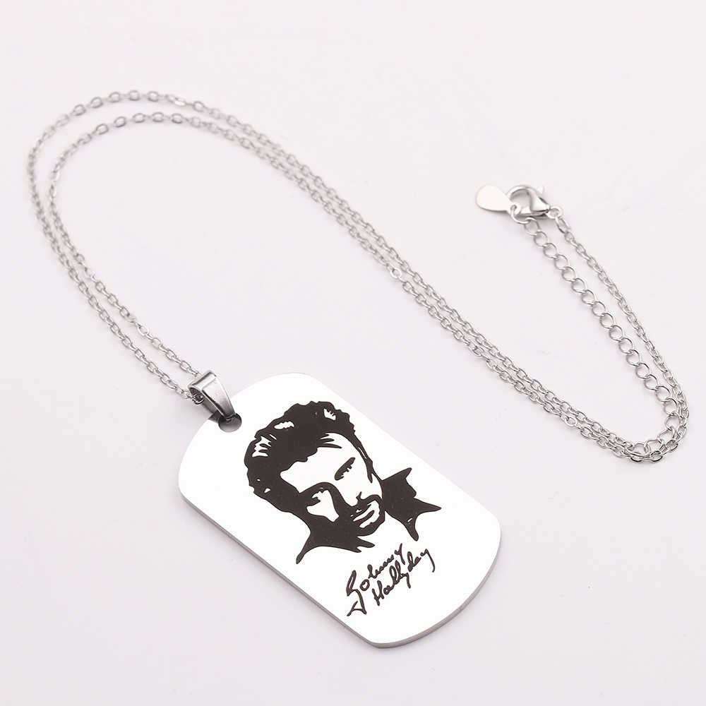 Default Custom Content Pendant Hand Made Johnny Hallyday Photo Necklaces Silver Stainless Steel Charm Long Chain Jewelry Gifts