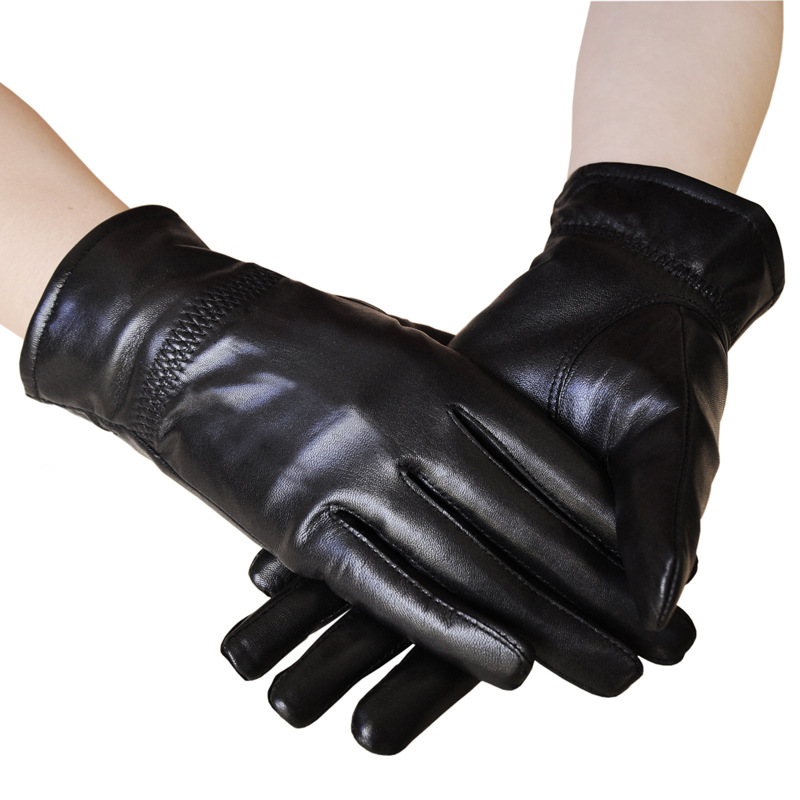 Sheepskin gloves safety Warm Winter driving leather thickened couple new mens leather waterproof screen gloves mittens for male winter windproof ski super driving warm proctive gloves