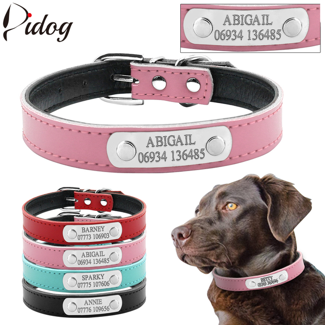 Us 4 99 Personalized Dog Id Collar Customized Dogs Collars Inner Padded Leather Pet Collar With Name Plate Free Engraving Xs S M In Collars From
