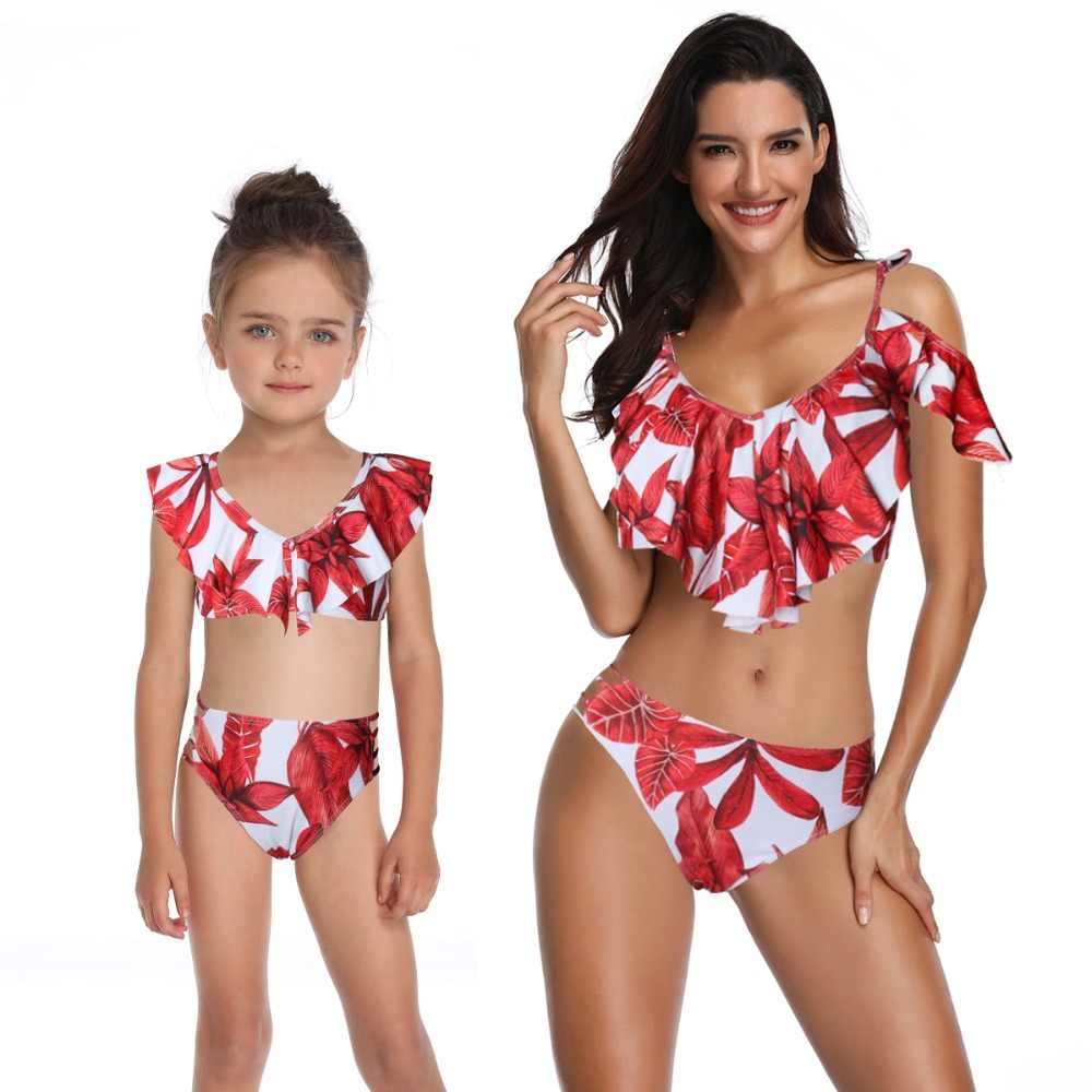 mother daughter swimwear mommy and me bath swimsuits family look sexy beach bikini clothes mom mum baby matching dress clothing