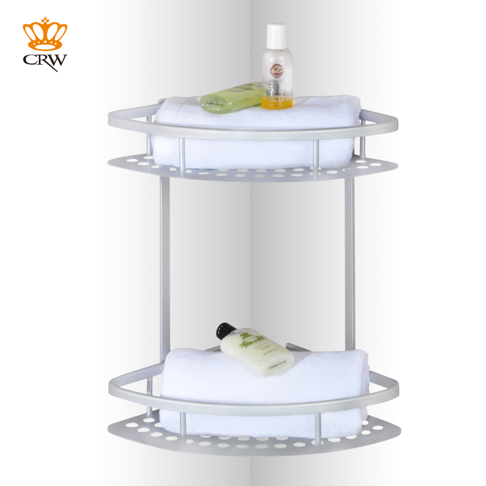CRW 2 Tier Shower Caddy Bathroom Corner Shelf Aluminum Bathroom ...