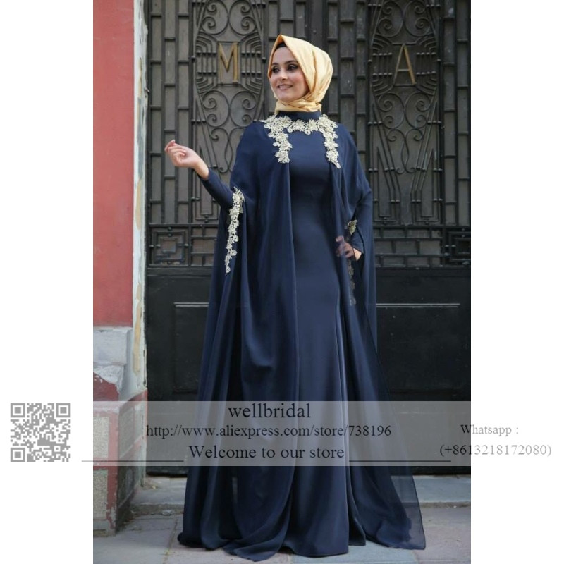 Vintage Muslim Dark Blue Bridal Gowns 2019 Appliques Lace Moroccan