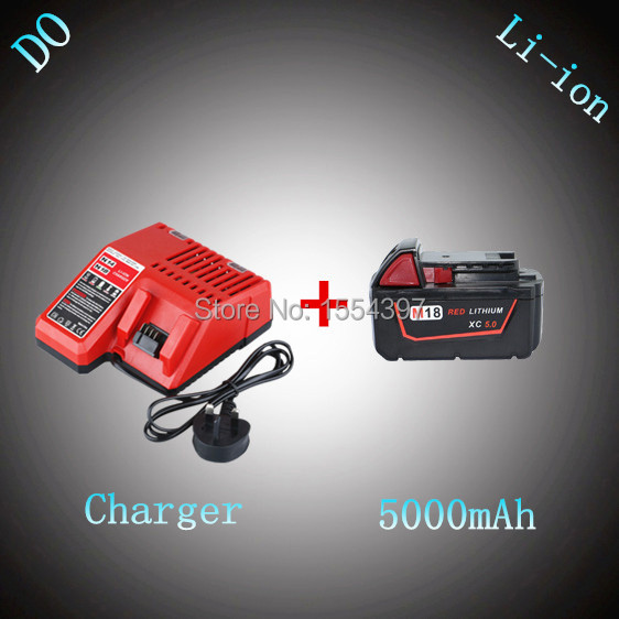 New 5000mAh Power Tool Rechargeable Lithium Ion Battery with Charger Replacement for Milwaukee 18V M18 XC 48-11-1828 M18B2 M18BX 3pcs 12v lithium ion 1500mah power tool rechargeable battery with charger replacement for milwaukee m12 48 11 2401 48 11 2402