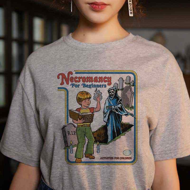 Korean Kpop Tops Female T-shirt Ulzzang Streetwear 80s Funny Shirt 90s Vintage Necromancy For Beginners Printed Tshirt Women