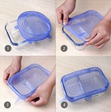 Stretchable silicone lids. A set of 6 sizes.