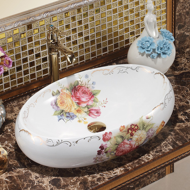 Superbe Oval Bthroom Lavabo Ceramic Counter Top Wash Basin Cloakroom Vessel Sink  Bathroom Sink Rose Pattern Vintage