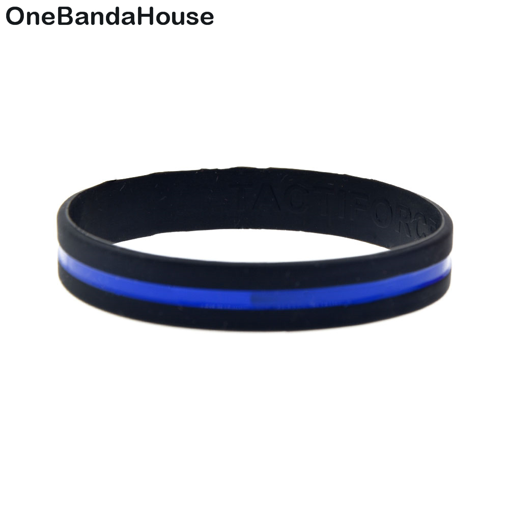1 Friend Thin Blue Line Wristband High Quality Debossed Color Filled Bracelet